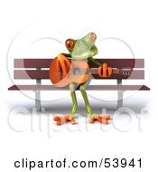Royalty Free RF Clipart Illustration Of A Cute 3d Green Tree Frog Playing A Guitar On A Park Bench Pose 1