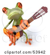 Royalty Free RF Clipart Illustration Of A Cute 3d Green Tree Frog Guitarist Playing Music Pose 3