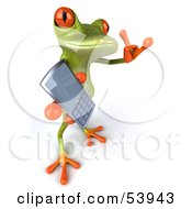 Royalty Free RF Clipart Illustration Of A Cute 3d Green Tree Frog Chatting On A Cell Phone Pose 4