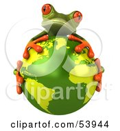 Royalty Free RF Clipart Illustration Of A Cute 3d Green Tree Frog Hugging The Planet Pose 1