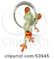Cute 3d Green Tree Frog Using A Magnifying Glass - Pose 3
