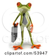 Royalty Free RF Clipart Illustration Of A Cute 3d Green Tree Frog Business Man Carrying A Briefcase Pose 1