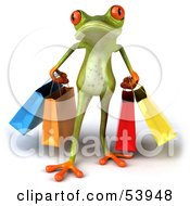 Royalty Free RF Clipart Illustration Of A Cute 3d Green Tree Frog Carrying Shopping Bags Pose 1