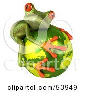 Cute 3d Green Tree Frog Hugging The Planet - Pose 2