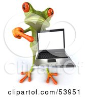 Royalty Free RF Clipart Illustration Of A Cute 3d Green Tree Frog Presenting A Laptop Pose 4 by Julos