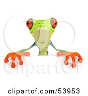 Cute 3d Green Poison Dart Frog Standing Behind A Blank Sign - Pose 2