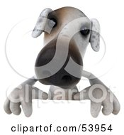 3d Jack Russell Terrier Pooch Character Standing Behind A Sign