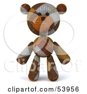 Royalty Free RF Clipart Illustration Of A 3d Sock Teddy Bear Character Standing And Facing Front by Julos