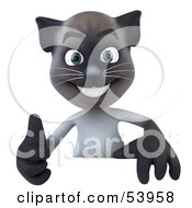 3d Siamese Pussy Cat Character Giving The Thumbs Up And Standing Behind A Blank Sign