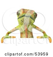 Royalty Free RF Clipart Illustration Of A 3d Chameleon Lizard Character Standing Behind A Blank Sign by Julos