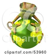 Royalty Free RF Clipart Illustration Of A 3d Chameleon Lizard Character Resting On Top Of A Globe by Julos