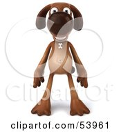 3d Brown Pooch Character Standing And Facing Front