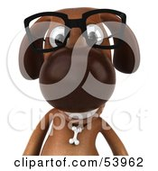 3d Brown Pooch Character Wearing Spectacles - Pose 1