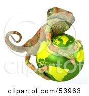 3d Chameleon Lizard Character Hugging A Globe