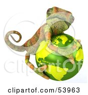 Royalty Free RF Clipart Illustration Of A 3d Chameleon Lizard Character Hugging A Globe by Julos