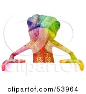 3d Rainbow Chameleon Lizard Character Standing Behind A Blank Sign