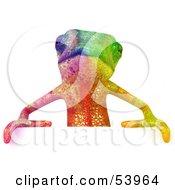 3d Rainbow Chameleon Lizard Character Standing Behind A Blank Sign