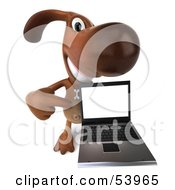 3d Brown Pooch Character With A Laptop - Pose 4