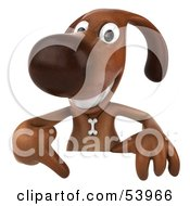 3d Brown Pooch Character Pointing Down At And Standing Behind A Blank Sign