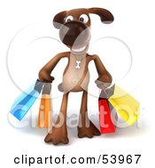 Royalty Free RF Clipart Illustration Of A 3d Brown Pooch Character Carrying Shopping Bags Version 1