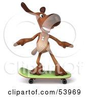 3d Brown Pooch Character Skateboarding - Pose 1
