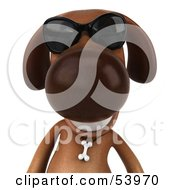 3d Brown Pooch Character Wearing Sunglasses - Pose 1