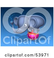 Royalty Free RF Clipart Illustration Of A 3d Blue Elephant Character Standing On A Circus Ball And Spraying Water Pose 2 by Julos
