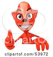 Royalty Free RF Clipart Illustration Of A 3d Fox Giving The Thumbs Up And Standing Behind A Blank Sign by Julos
