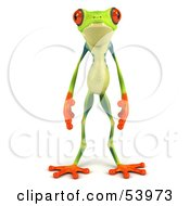 Royalty Free RF Clipart Illustration Of A Cute 3d Green Poison Dart Frog Standing And Facing Front by Julos