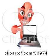 Royalty Free RF Clipart Illustration Of A 3d Fox Holding A Laptop Pose 4 by Julos