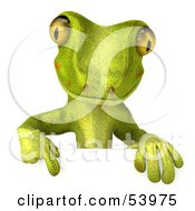 Royalty Free RF Clipart Illustration Of A 3d Gecko Character Pointing Down At And Standing Behind A Blank Sign Pose 1 by Julos