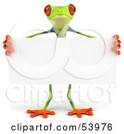 Cute 3d Green Poison Dart Frog Standing Behind A Blank Sign - Pose 1