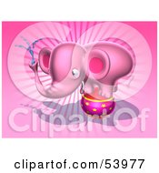 Royalty Free RF Clipart Illustration Of A 3d Pink Elephant Character Standing On A Circus Ball And Spraying Water Pose 4 by Julos