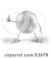Royalty Free RF Clipart Illustration Of A 3d Golf Ball With Arms And Legs Giving The Thumbs Up Version 2