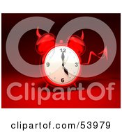 Royalty Free RF Clipart Illustration Of A 3d Red Devil Alarm Clock With A Forked Tail Version 11