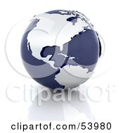 Royalty Free RF Clipart Illustration Of Silver Continents On A Dark Blue Globe Over A Reflective Surface by KJ Pargeter