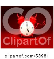Royalty Free RF Clipart Illustration Of A 3d Red Devil Alarm Clock With A Forked Tail Version 10