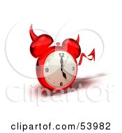 3d Red Devil Alarm Clock With A Forked Tail - Version 1