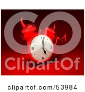 3d Red Devil Alarm Clock With A Forked Tail - Version 8