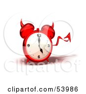 Royalty Free RF Clipart Illustration Of A 3d Red Devil Alarm Clock With A Forked Tail Version 4