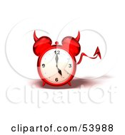 3d Red Devil Alarm Clock With A Forked Tail - Version 3