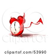 3d Red Devil Alarm Clock With A Forked Tail - Version 2