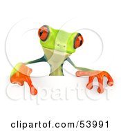Cute 3d Green Poison Dart Frog Pointing Down At And Standing Behind A Blank Sign