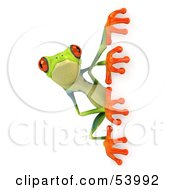 Cute 3d Green Poison Dart Frog Looking Around A Blank Sign - Pose 1