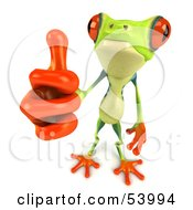Cute 3d Green Poison Dart Frog Giving The Thumbs Up