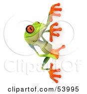 Cute 3d Green Poison Dart Frog Looking Around A Blank Sign - Pose 2