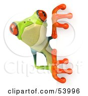 Royalty Free RF Clipart Illustration Of A Cute 3d Green Poison Dart Frog Looking Around A Blank Sign Pose 3 by Julos