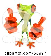Cute 3d Green Poison Dart Frog Giving Two Thumbs Up