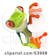 Royalty Free RF Clipart Illustration Of A Cute 3d Green Poison Dart Frog Looking Around A Blank Sign Pose 4