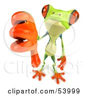 Royalty Free RF Clipart Illustration Of A Cute 3d Green Poison Dart Frog Giving The Thumbs Down by Julos
